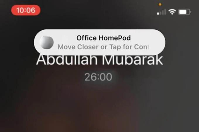 HomePod mini Proximity Audio Transfer Notification