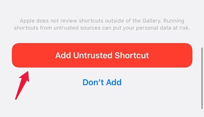 Install Untrusted Shortcuts on iPhone