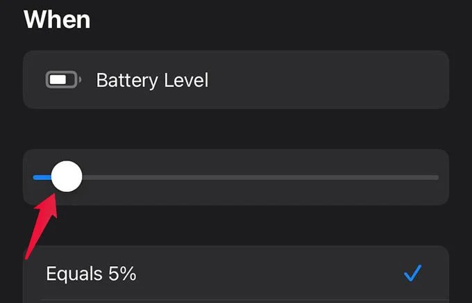 Select Battery Level on Automation Trigger in iPhone