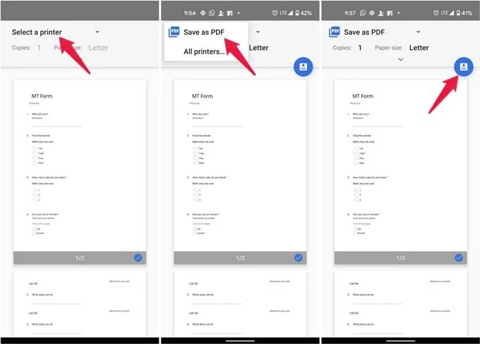Change printer destination to Save as PDF on Android
