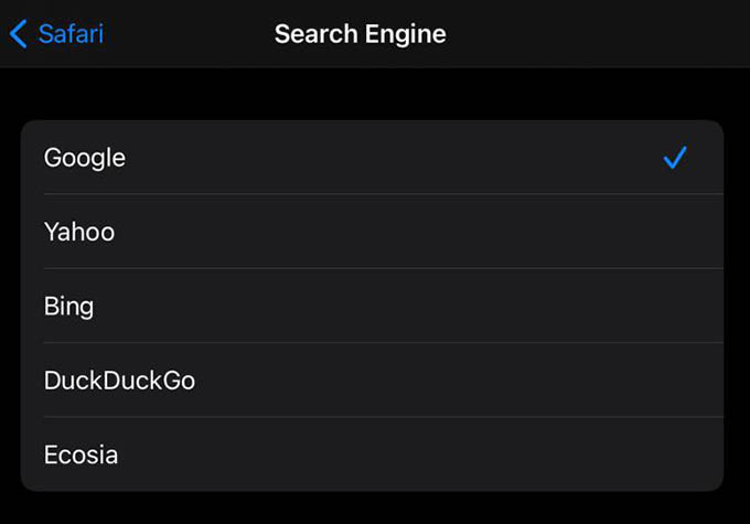 Change Safari Search Engine on iPhone and iPad