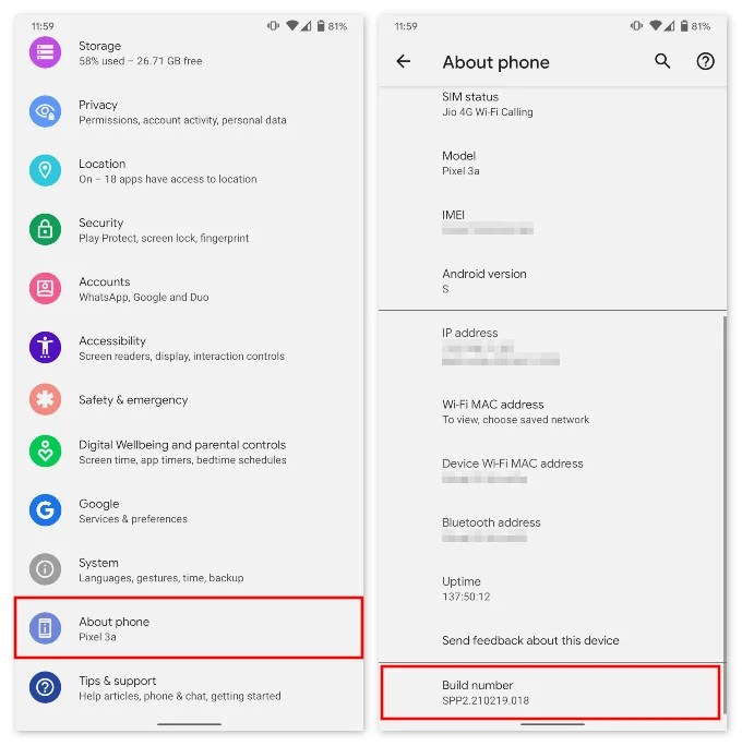 Enable Developer options Android 12