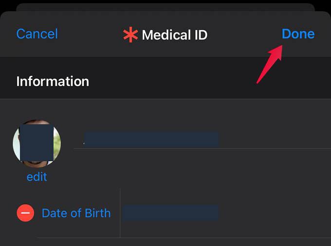 Save Editing iPhone Medical ID