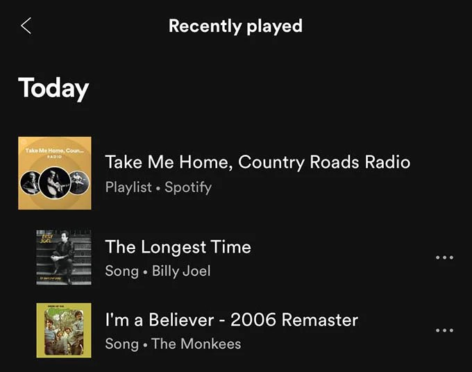 Spotify Listening History Today