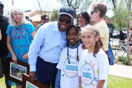 Houston Mayor Sylvester Turner with children