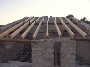 Colocación de vigas en el techo
