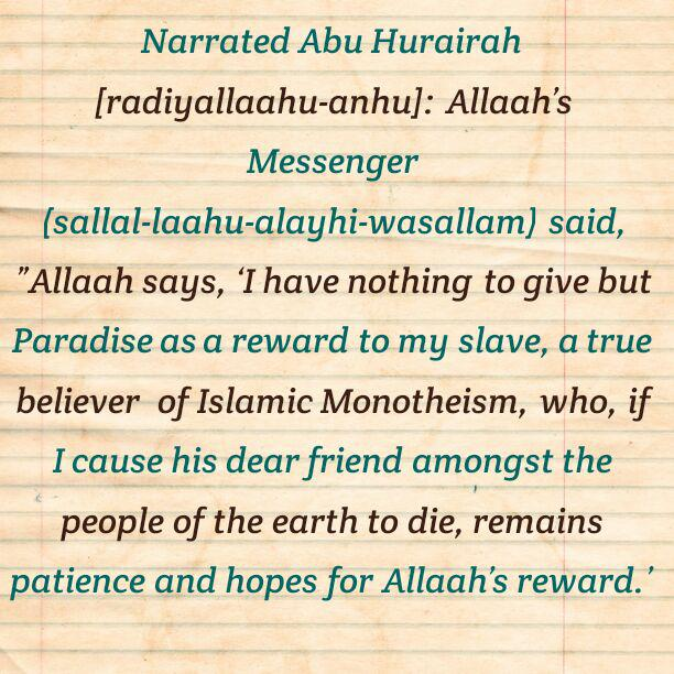 Softening the hearts-Paradise is for the one who exercises patience after losing a beloved one!