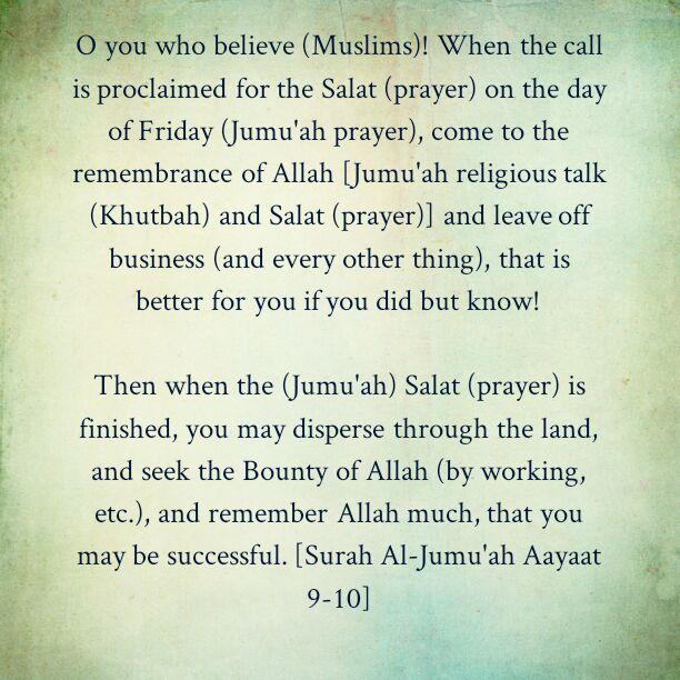 Hasten Towards The Jumu'ah Prayer For The Remembrance of Allaah!