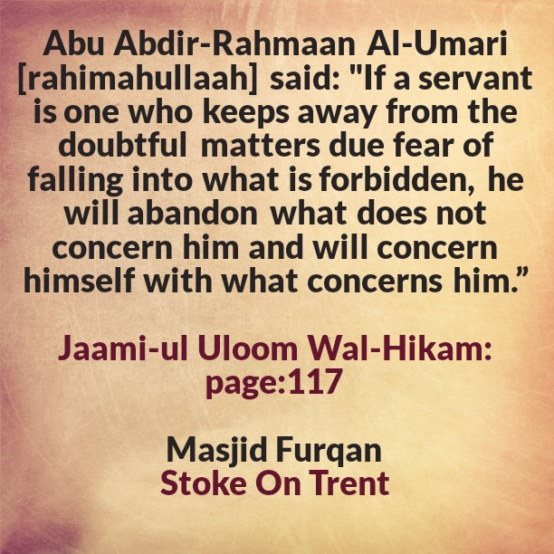 A Safeguard Against Getting Involved In What Does Not Concern Us