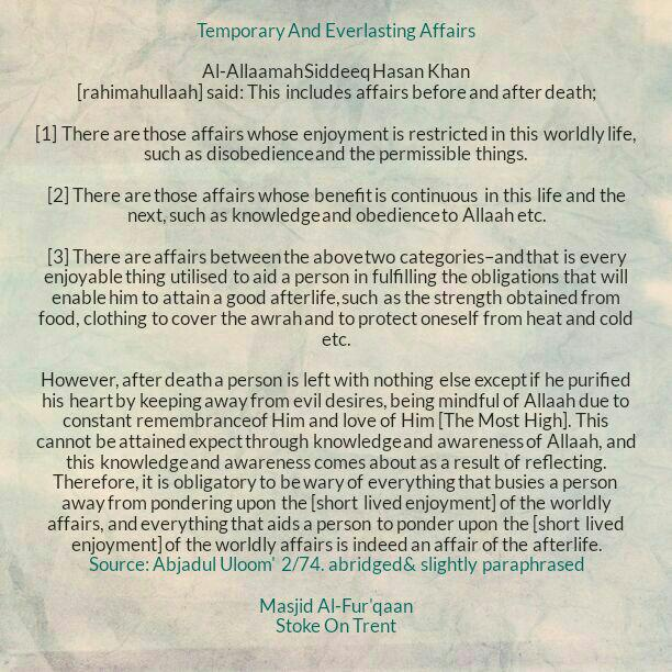 Temporary And Everlasting Affairs -[Ask Allaah For Tawfeeq to Keep On Identifying Them And Constantly Ask Allaah For Tawfeeq to Avoid Its Harms And Receive Its Benefits]