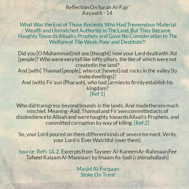 Reflection: The Evil End of Those Ancients Who Became Haughty In The Earth and Utilised the Blessings of Allaah In Sin, Transgression, Oppression, Falsehood etc