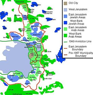 Map showing East and West Jerusalem
