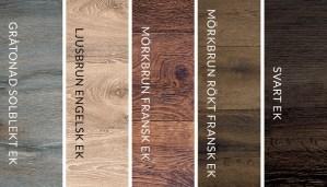 Översikt av fem olika träslag