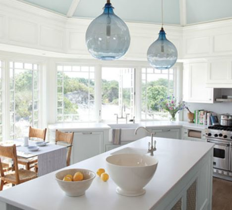 CC Blog kitchen with blue ceiling