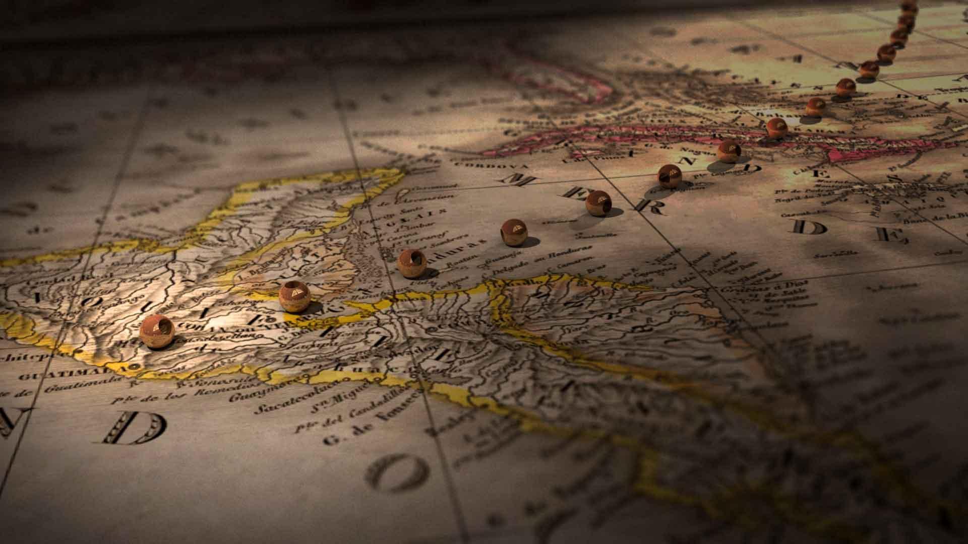 Gammal fransk karta över Centralamerika