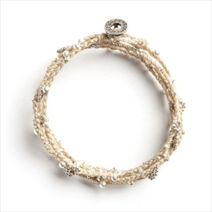 Wakami Life is What You Make of It Long Beige Necklace WA0293-17, armband, beige, double wrap, Fair Trade, halsband, sand, silver