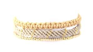 3-pack, armband, Fair Trade, grå, Guatemala, guld, handtillverkat, Masomenos, paket & kombinationer, Wakami