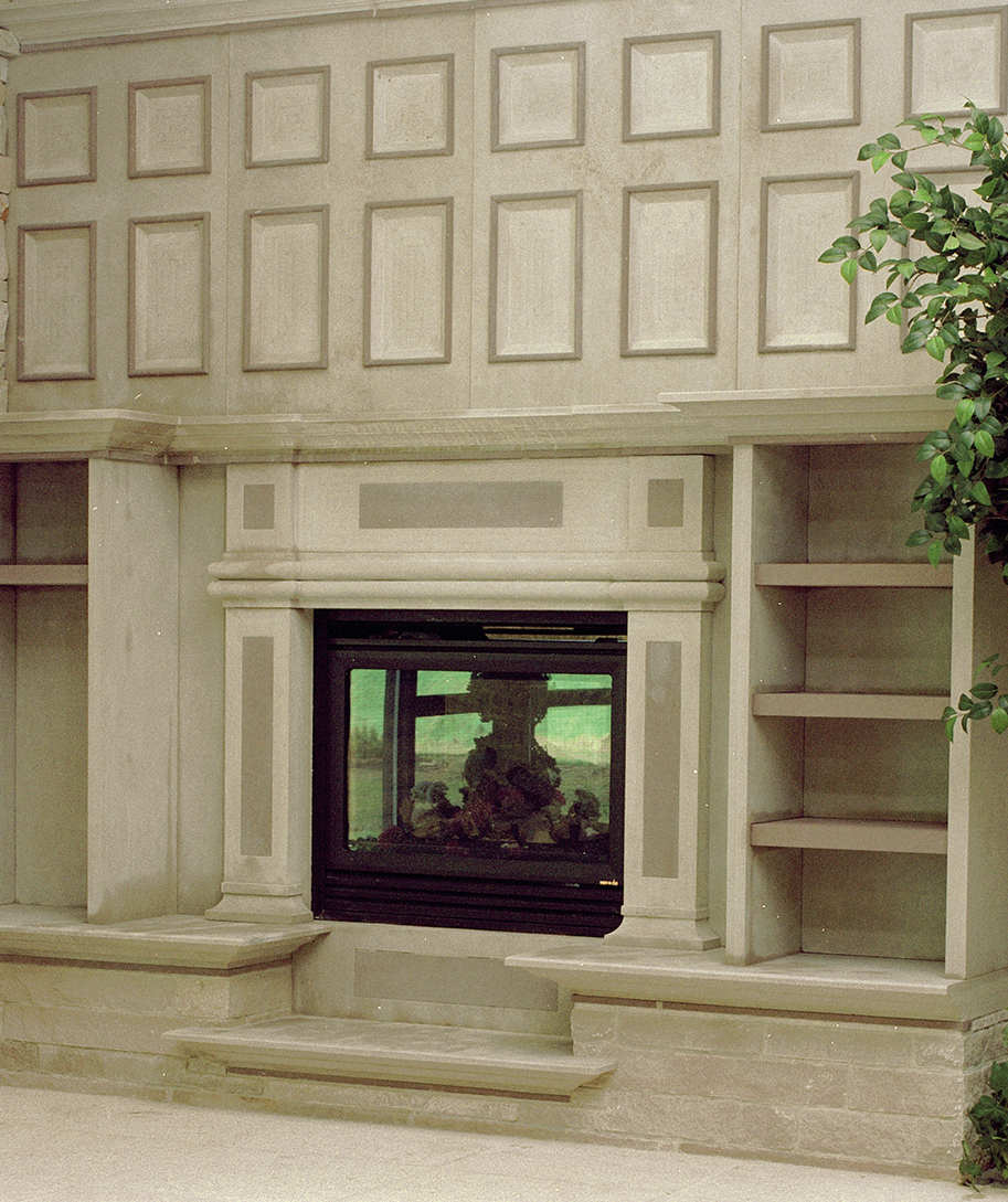 Custom Limestone and Brownstone Fireplace surround