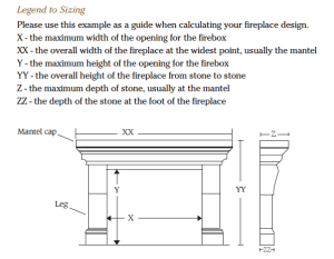 Fireplace Surrounds Legend to Sizing