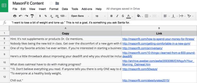 masonfit content list in Google Sheets