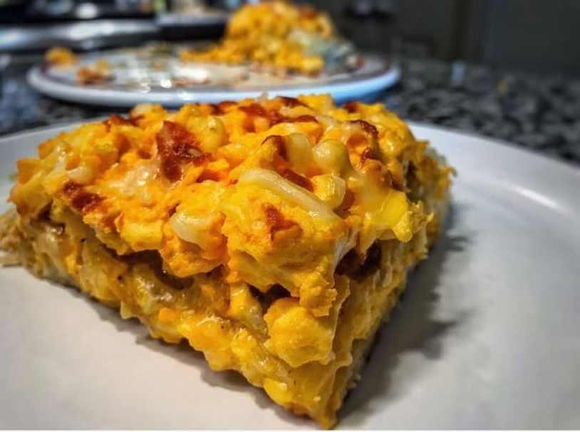 Cheesy Hash Brown Breakfast Layer Protein Cake