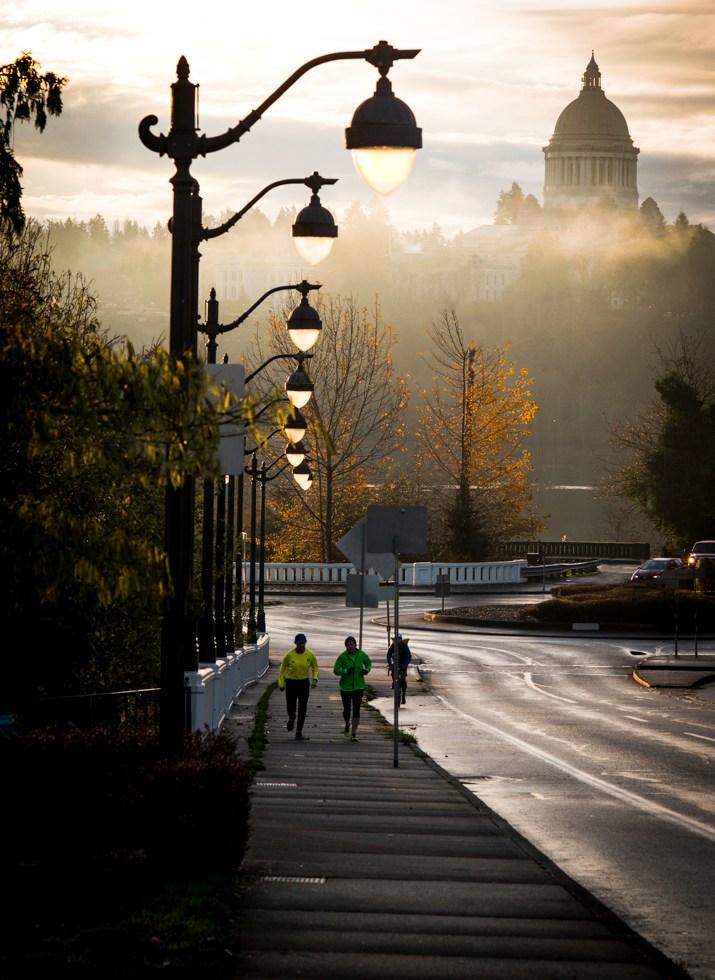 Sunrise lights streetlights