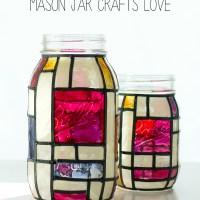 Mondrian Mason Jars