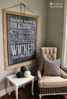 burlap and chalkboard double double toil and trouble sign