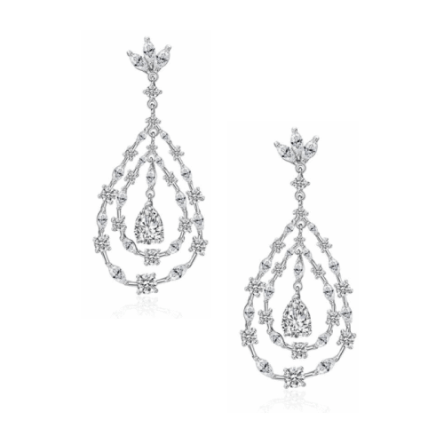 The stunning Amaya crystal chandelier earrings are the ultimate bridal accessory, designed with intricate clear cut cubic zirconia crystals on a white gold finish.
