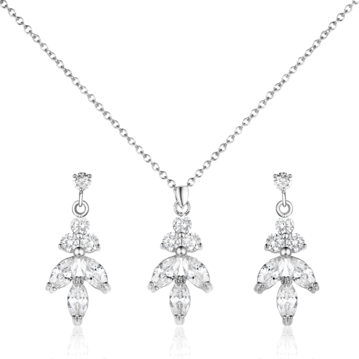 The stunning Grace Silver Set complete with earrings and a matching necklace. Featuring stunning cubic zirconia crystals on a white gold finish.