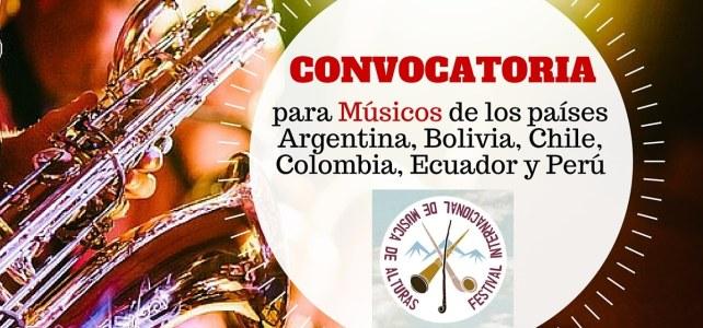 Convocatoria para músicos de países andinos