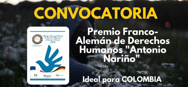Convocatoria al Premio Franco-Alemán de Derechos Humanos Antonio Nariño