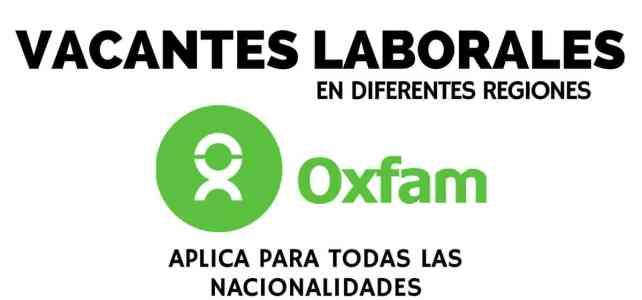 Vacantes en diferentes regiones con Oxfam