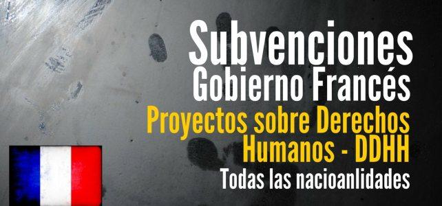 Financiación del Gobierno Frances a proyectos sobre derechos humanos