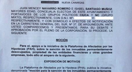 Ciuca y NC de Mogán proponen apoyar a la Plataforma de Afectados por la Hipoteca