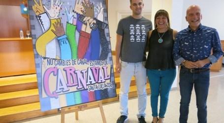 Santa Lucía desvela el cartel de su Carnaval 2018 sobre la TV, del diseñador Ernesto Santana
