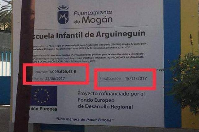 Escuela infantil de Arguineguín, cartel de obra