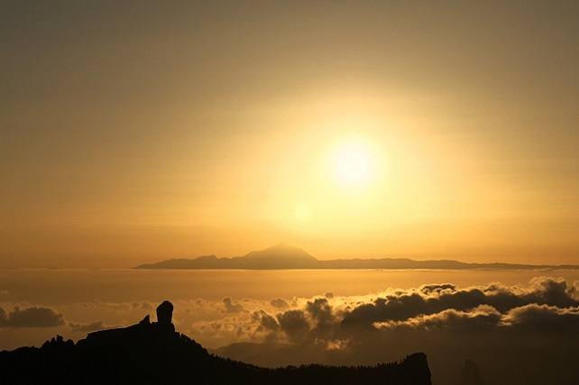 Roque Nublo y Teide, fotograma de Axis Mundi, Cumbres Sagradas de Gran Canaria