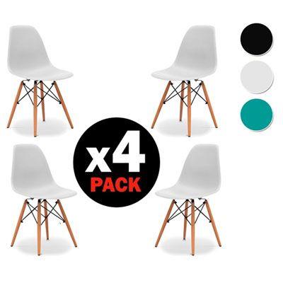 Pack 4 sillas comedor o cocina diseño nordico baratas en las ofertas de ebay