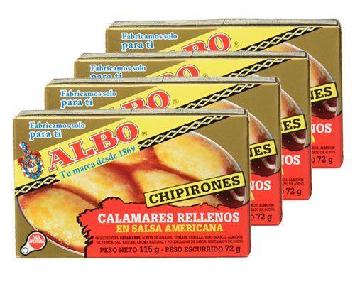 Oferta pack de 4 latas Albo Chipirones Rellenos en Salsa Americana baratos amazon