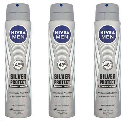 Oferta pack de 3 desodorante Nivea Men Silver protect 250 ml barato