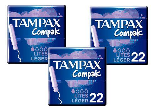 Oferta 3 paquetes de tampones Tampax Compak Lites