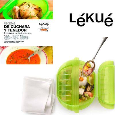 Oferta estuche de vapor hondo y libro de recetas Lekue barato