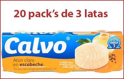 Oferta 20 packs de 3 latas de Calvo Atún Claro en Escabeche