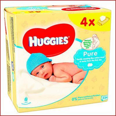 Oferta 4 paquetes de 56 toallitas Huggies Pure baratas