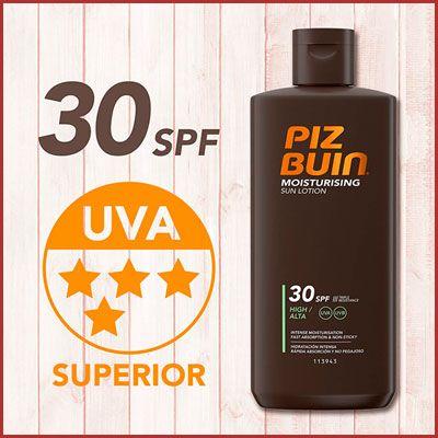 Oferta Piz Buin leche solar hidratante SPF30 barata