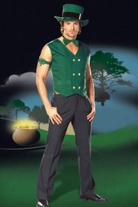 St. Patrick Green Leprechaun Costume for Men