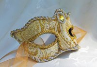 Golden Brocade and Leather Mask