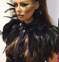 Black Gothic Feather Capelet
