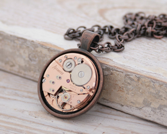"alt=""copper steampunk necklace"""